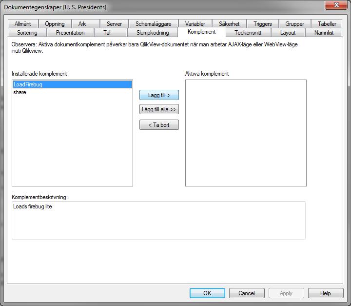 Integrera Firebug med QlikView