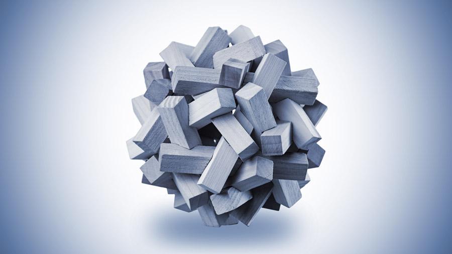 En komplex träsfär som illustrerar hur komplext det är att arbeta i affärssystem
